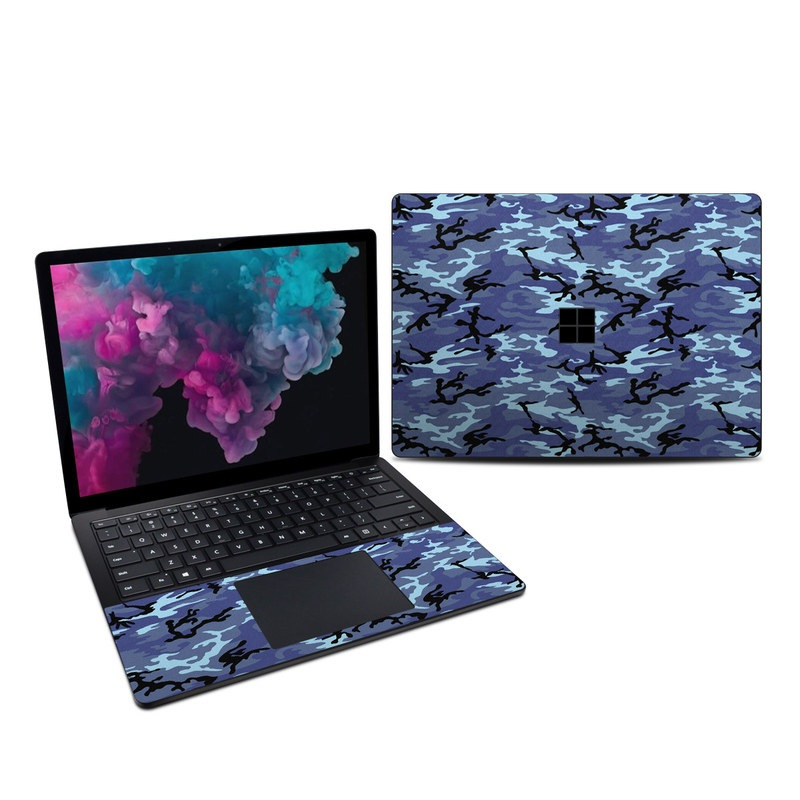 Microsoft Surface Laptop 3 13.5-inch Skin design of Military camouflage, Pattern, Blue, Aqua, Teal, Design, Camouflage, Textile, Uniform with blue, black, gray, purple colors