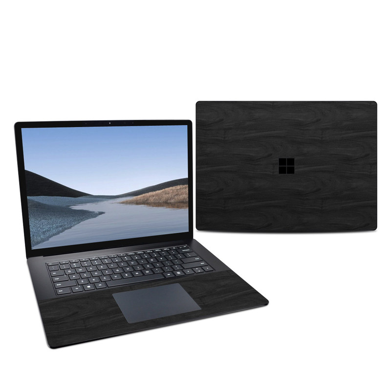 Microsoft Surface Laptop 3 15-inch Skin design of Black, Brown, Wood, Grey, Flooring, Floor, Laminate flooring, Wood flooring with black colors