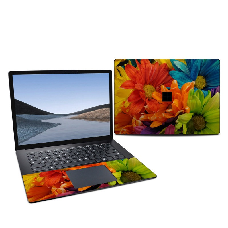 Microsoft Surface Laptop 3 15-inch Skin design of Flower, Petal, Orange, Cut flowers, Yellow, Plant, Bouquet, Floral design, Flowering plant, Gerbera with red, green, black, blue colors