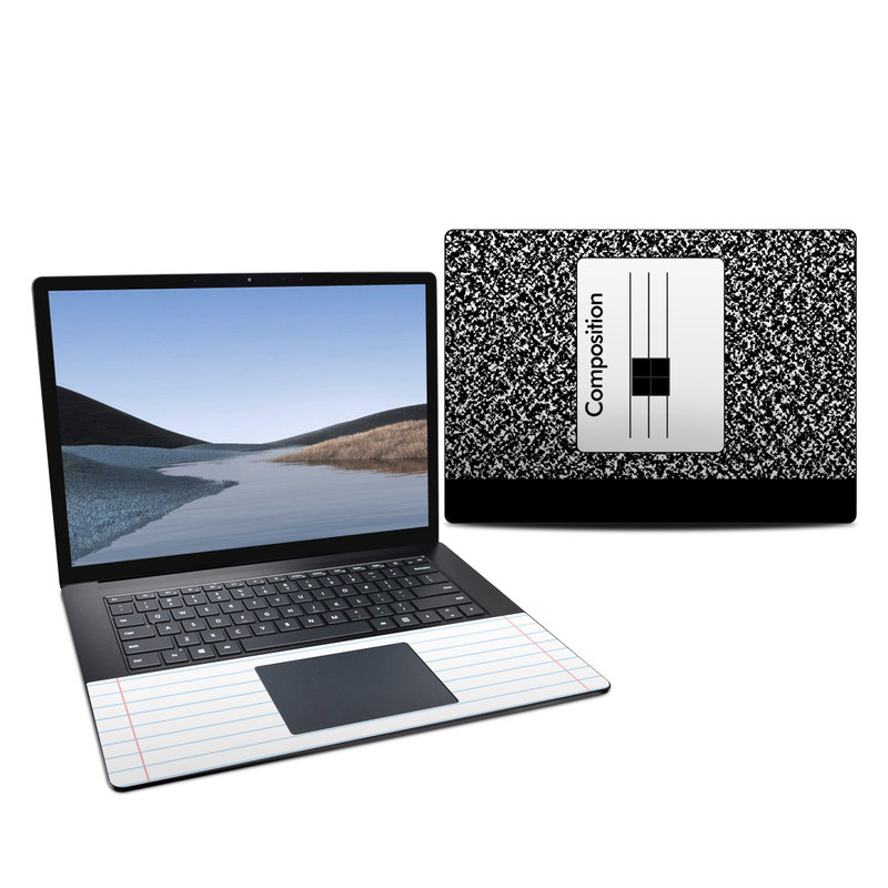 Microsoft Surface Laptop 3 15-inch Skin design of Text, Font, Line, Pattern, Black-and-white, Illustration with black, gray, white colors