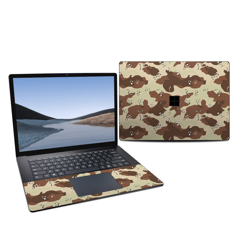 Microsoft Surface Laptop 3 15-inch Skin design of Military camouflage, Brown, Pattern, Design, Camouflage, Textile, Beige, Illustration, Uniform, Metal with gray, red, black, green colors