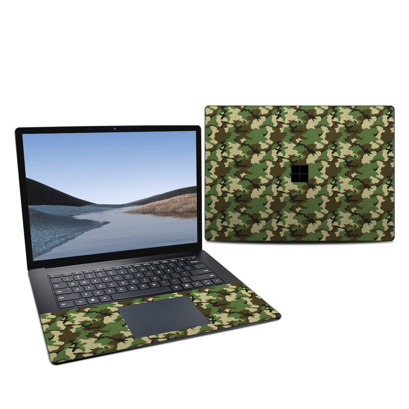 Microsoft Surface Laptop 3 15-inch Skin design of Military camouflage, Camouflage, Clothing, Pattern, Green, Uniform, Military uniform, Design, Sportswear, Plane with black, gray, green colors