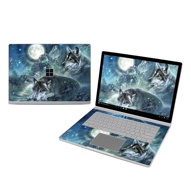 Microsoft Surface Book 3 15-inch i7 Skin design of Cg artwork, Fictional character, Darkness, Werewolf, Illustration, Wolf, Mythical creature, Graphic design, Dragon, Mythology with black, blue, gray, white colors