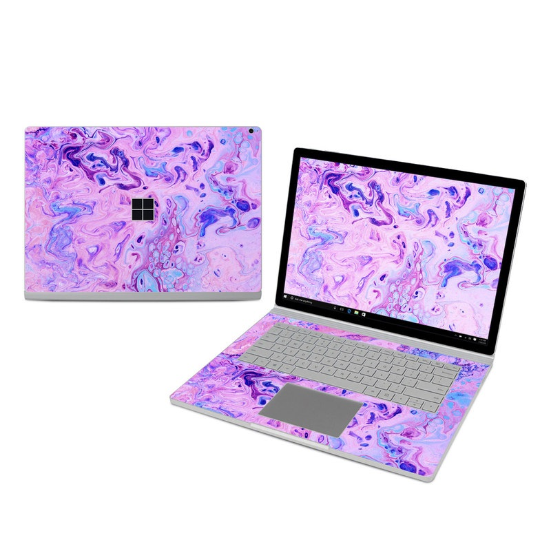 Microsoft Surface Book 3 15-inch i7 Skin design of Purple, Violet, Lilac, Art, Pattern, Modern art, Painting, Visual arts, Acrylic paint, Magenta with pink, purple, blue colors