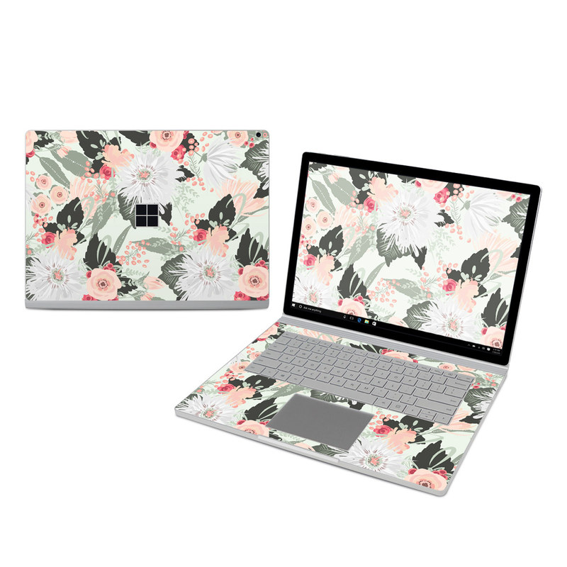 Microsoft Surface Book 3 15-inch i7 Skin design of Pattern, Pink, Floral design, Design, Textile, Wrapping paper, Plant, Peach, Flower with green, red, white, pink colors