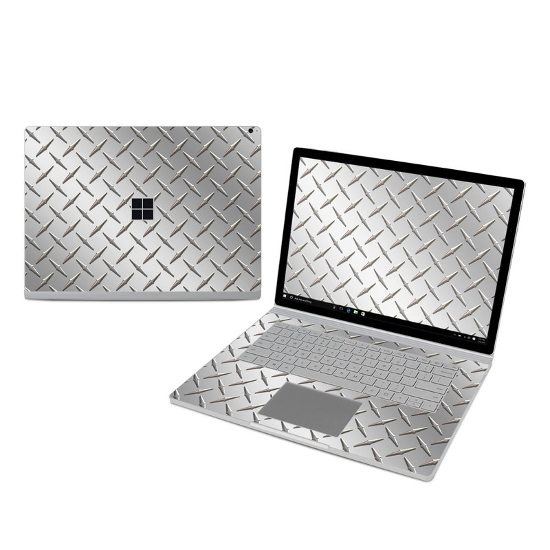 Microsoft Surface Book 3 15-inch i7 Skin design of Pattern, Metal, Line, Design, Steel, Parallel, Tile, Beige, Flooring with gray colors