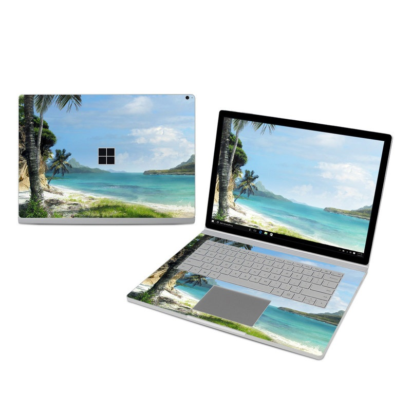 Microsoft Surface Book 3 15-inch i7 Skin design of Body of water, Tropics, Nature, Natural landscape, Shore, Coast, Caribbean, Sea, Tree, Beach with gray, black, blue, green colors