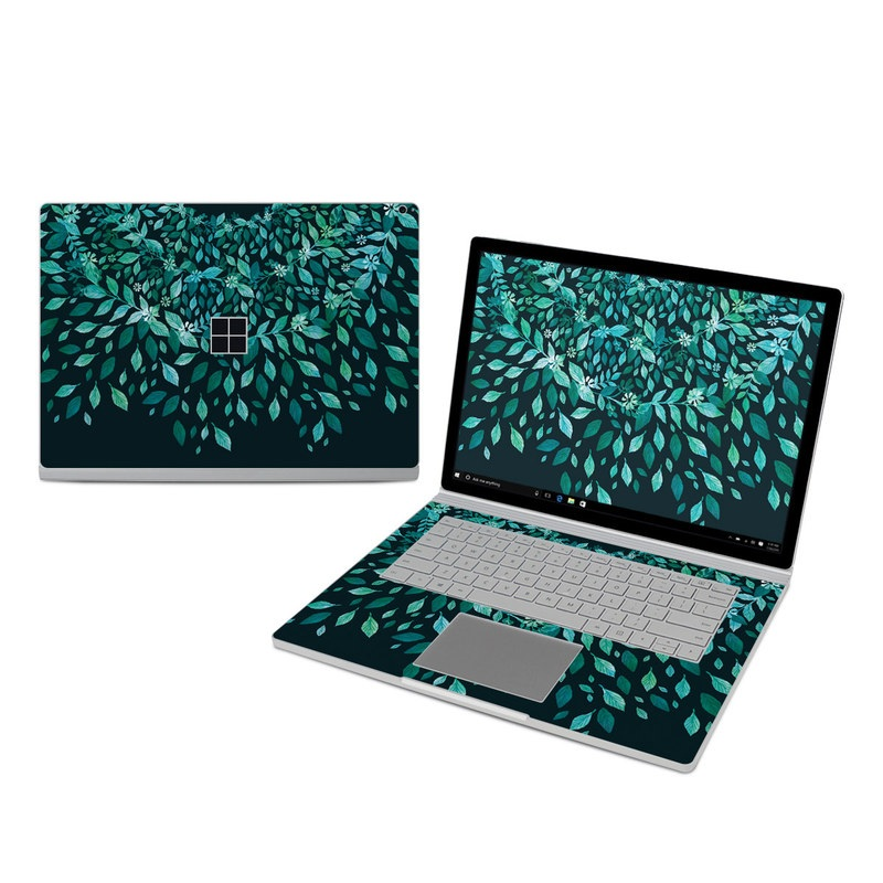 Microsoft Surface Book 3 15-inch i7 Skin design of Green, Aqua, Organism, Turquoise, Natural environment, Teal, Marine biology, Water, Leaf, Plant with black, green, white colors