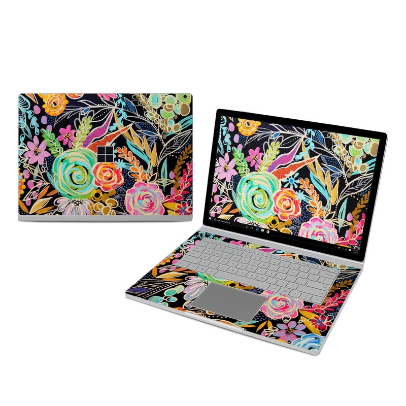 Microsoft Surface Book 3 15-inch i7 Skin design of Pattern, Floral design, Design, Textile, Visual arts, Art, Graphic design, Psychedelic art, Plant with black, gray, green, red, blue colors