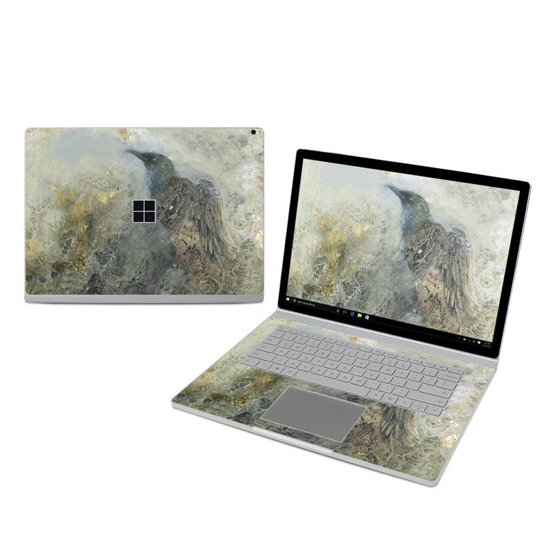 Microsoft Surface Book 3 15-inch i7 Skin design of Painting, Water, Geology, Art, Rock, Watercolor paint, Illustration with black, gray, white, blue colors