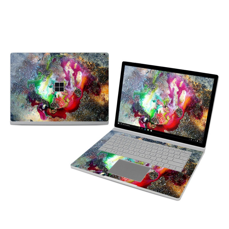 Microsoft Surface Book 3 15-inch i7 Skin design of Organism, Space, Art, Nebula, Rock with black, gray, red, green, blue, purple colors