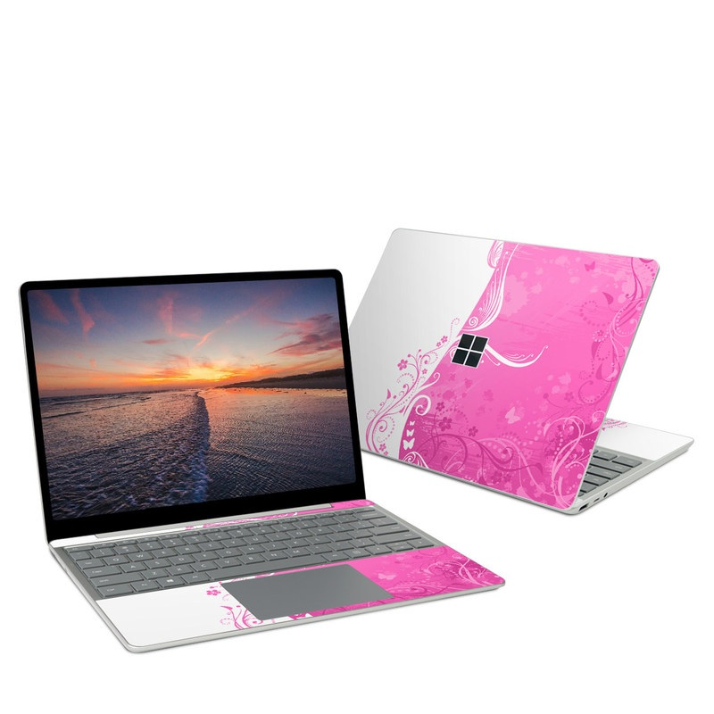 Microsoft Surface Laptop Go Skin design of Pink, Pattern, Magenta, Design, Visual arts, Wallpaper, Paisley, Floral design, Ornament, Motif with pink, white, purple colors
