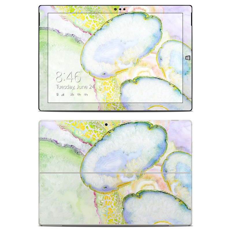 Microsoft Surface Pro 3 Skin design of Watercolor paint, Illustration, Paint, Child art, Art with blue, purple, green, yellow, pink colors