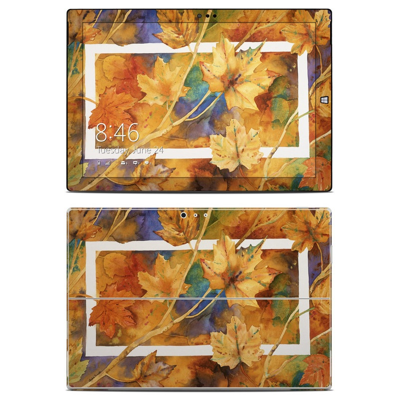 Microsoft Surface Pro 3 Skin design of Leaf, Autumn, Plant, Tree, Flower, Black maple, Plane, Painting, Still life, Deciduous with yellow, green, red, orange, white, blue colors
