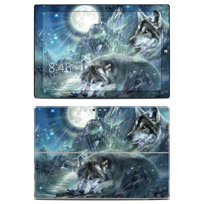 Microsoft Surface Pro 3 Skin design of Cg artwork, Fictional character, Darkness, Werewolf, Illustration, Wolf, Mythical creature, Graphic design, Dragon, Mythology with black, blue, gray, white colors