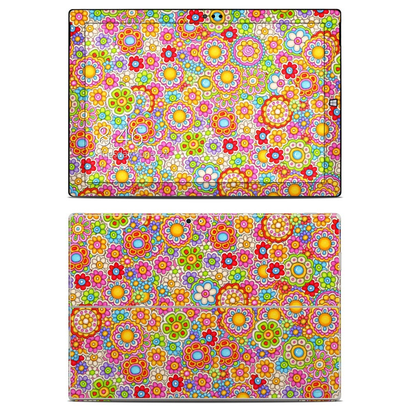Microsoft Surface Pro 3 Skin design of Pattern, Design, Textile, Visual arts with pink, red, orange, yellow, green, blue, purple colors