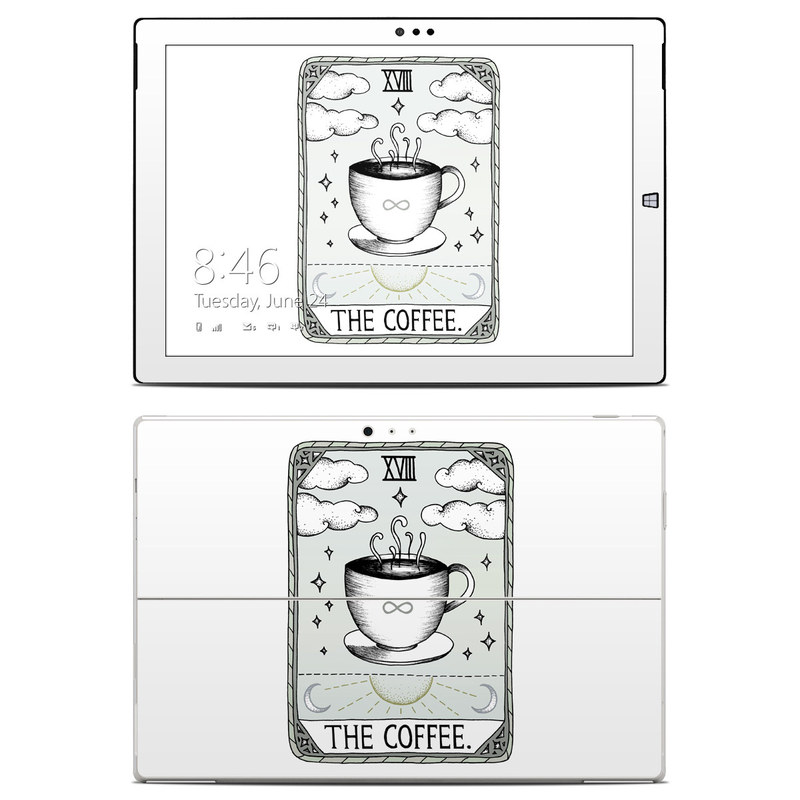 Microsoft Surface Pro 3 Skin design of Cup, Cartoon, Drinkware, Coffee cup, Tableware, Teacup, Illustration, Drink, Line art with white, black, green, gray, yellow colors
