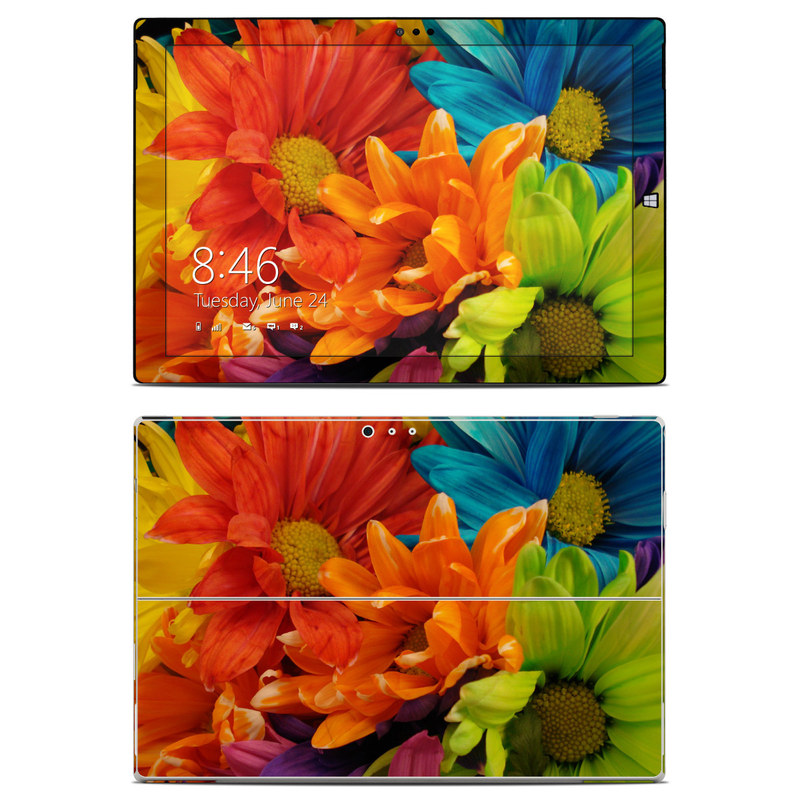 Microsoft Surface Pro 3 Skin design of Flower, Petal, Orange, Cut flowers, Yellow, Plant, Bouquet, Floral design, Flowering plant, Gerbera with red, green, black, blue colors