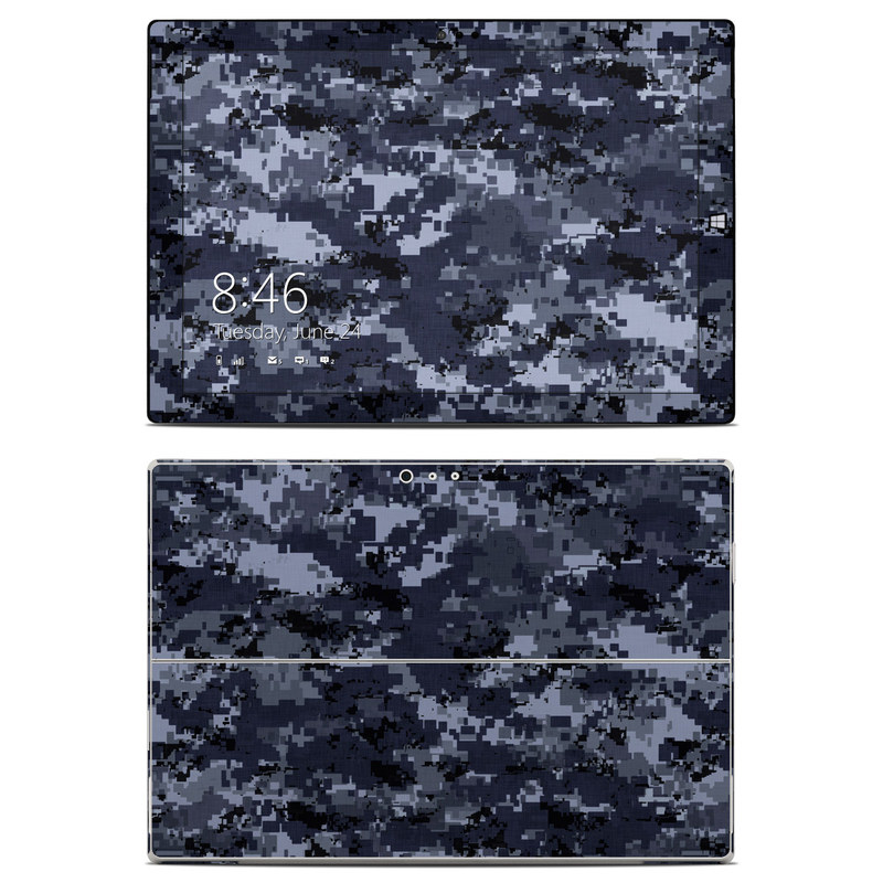 Microsoft Surface Pro 3 Skin design of Military camouflage, Black, Pattern, Blue, Camouflage, Design, Uniform, Textile, Black-and-white, Space with black, gray, blue colors