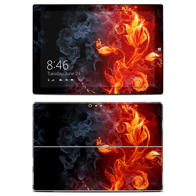 Microsoft Surface Pro 3 Skin design of Flame, Fire, Heat, Red, Orange, Fractal art, Graphic design, Geological phenomenon, Design, Organism with black, red, orange colors