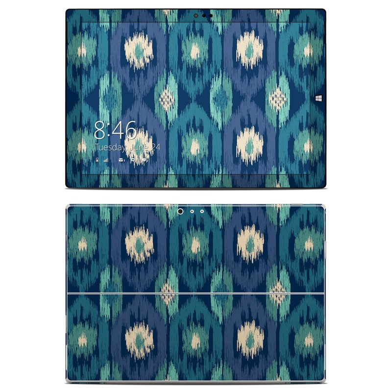 Microsoft Surface Pro 3 Skin design of Green, Pattern, Leaf, Teal, Textile, Design, Grass, Symmetry, Plant with blue, green, white colors