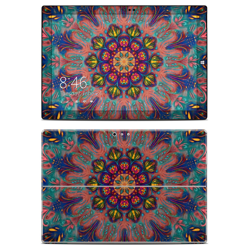 Microsoft Surface Pro 3 Skin design of Psychedelic art, Pattern, Art, Textile, Symmetry, Visual arts, Design, Fractal art, Kaleidoscope, Tapestry with blue, yellow, red, green, pink, green colors