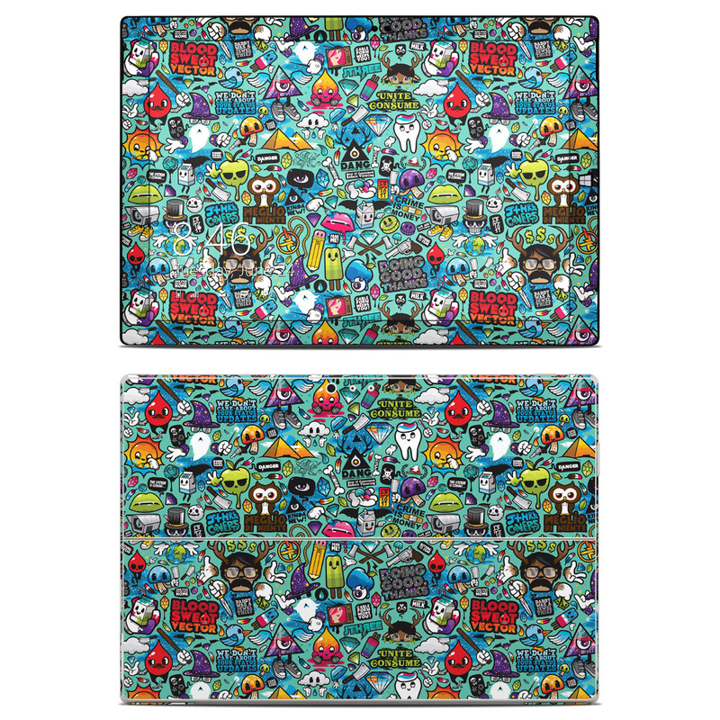 Microsoft Surface Pro 3 Skin design of Cartoon, Art, Pattern, Design, Illustration, Visual arts, Doodle, Psychedelic art with black, blue, gray, red, green colors