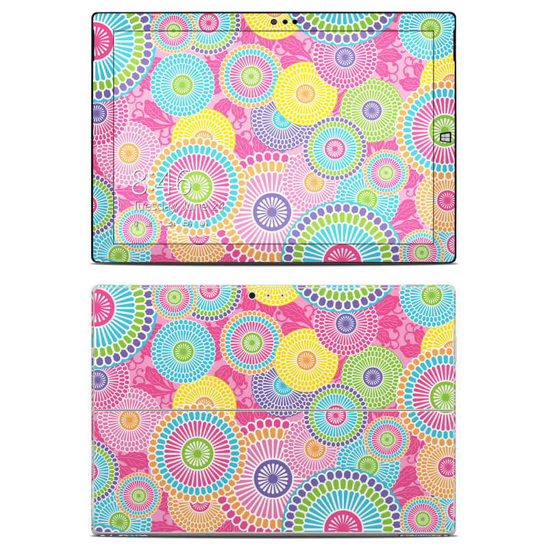Microsoft Surface Pro 3 Skin design of Pattern, Circle, Textile, Design, Visual arts, Wrapping paper with gray, pink, purple, orange, blue, green colors