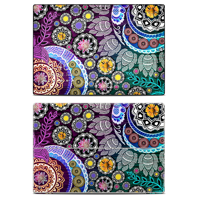 Microsoft Surface Pro 3 Skin design of Pattern, Psychedelic art, Art, Visual arts, Design, Floral design, Textile, Motif, Circle, Illustration with black, gray, purple, blue, green, red colors