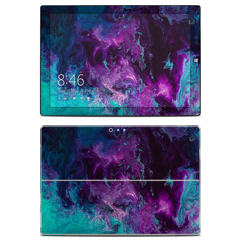 Microsoft Surface Pro 3 Skin design of Blue, Purple, Violet, Water, Turquoise, Aqua, Pink, Magenta, Teal, Electric blue with blue, purple, black colors