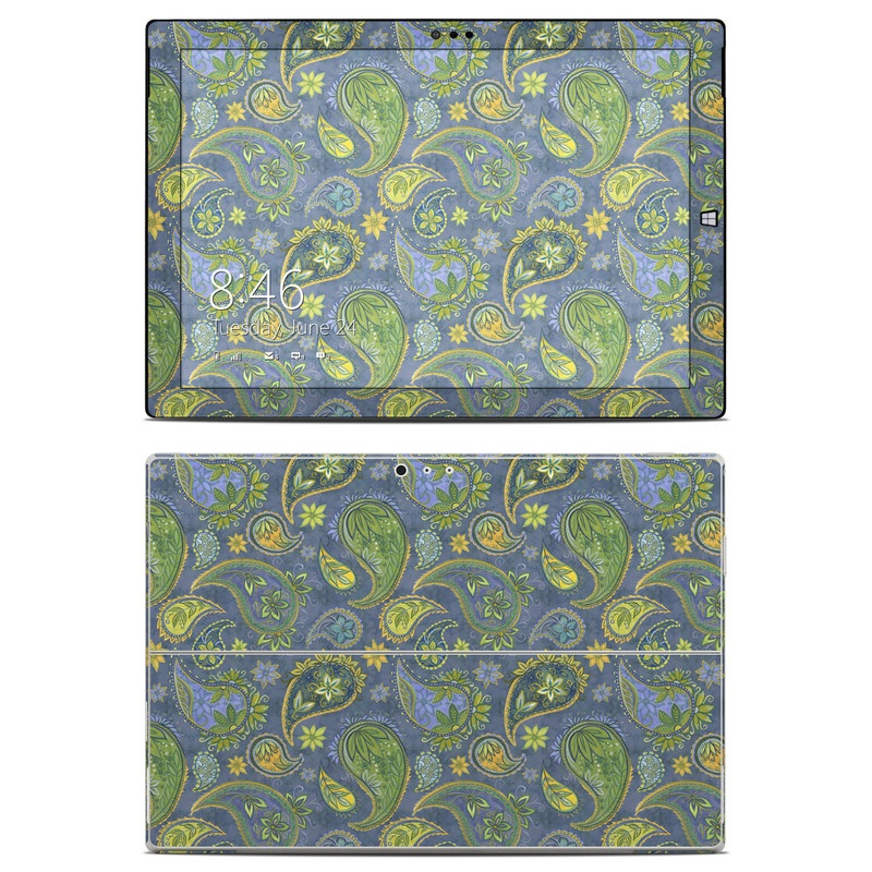 Microsoft Surface Pro 3 Skin design of Pattern, Green, Paisley, Motif, Visual arts, Art, Design, Textile, Organism with green, gray, blue, black colors