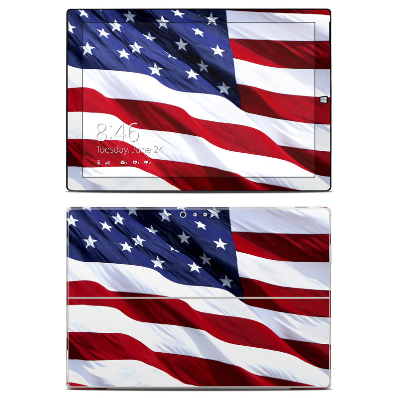 Microsoft Surface Pro 3 Skin design of Flag, Flag of the united states, Flag Day (USA), Veterans day, Memorial day, Holiday, Independence day, Event with red, blue, white colors