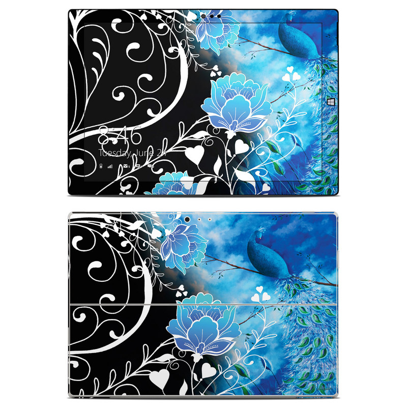 Microsoft Surface Pro 3 Skin design of Blue, Pattern, Graphic design, Design, Illustration, Organism, Visual arts, Graphics, Plant, Art with black, blue, gray, white colors