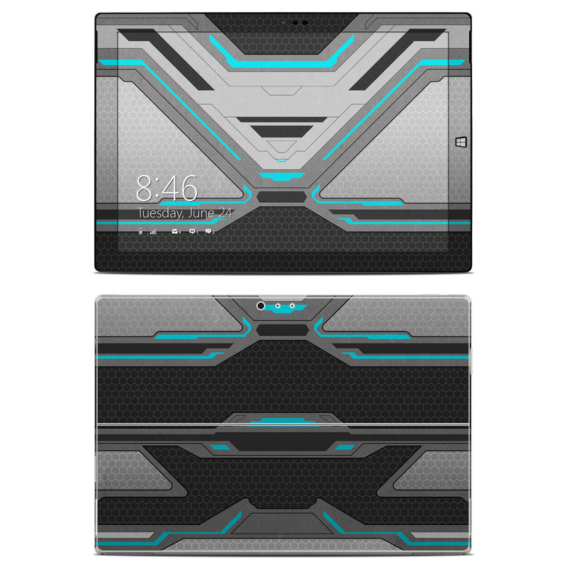 Microsoft Surface Pro 3 Skin design of Blue, Turquoise, Pattern, Teal, Symmetry, Design, Line, Automotive design, Font with black, gray, blue colors