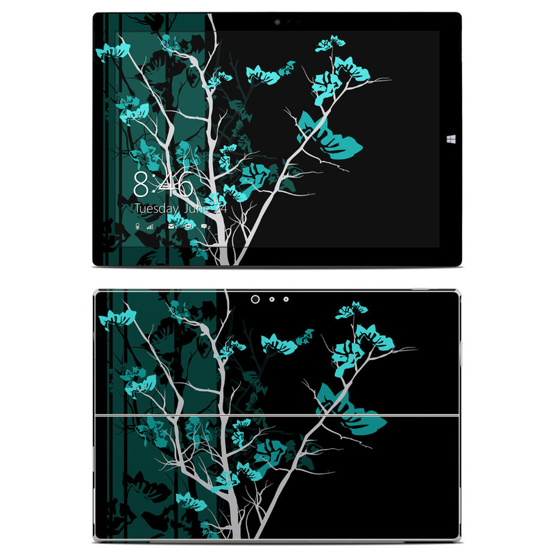 Microsoft Surface Pro 3 Skin design of Branch, Black, Blue, Green, Turquoise, Teal, Tree, Plant, Graphic design, Twig with black, blue, gray colors