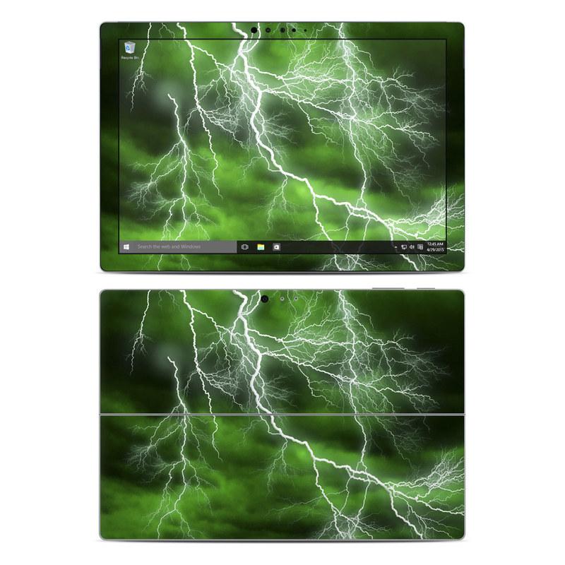 Microsoft Surface Pro 5, Pro 4 Skin design of Thunderstorm, Thunder, Lightning, Nature, Green, Water, Sky, Atmosphere, Atmospheric phenomenon, Daytime with green, black, white colors