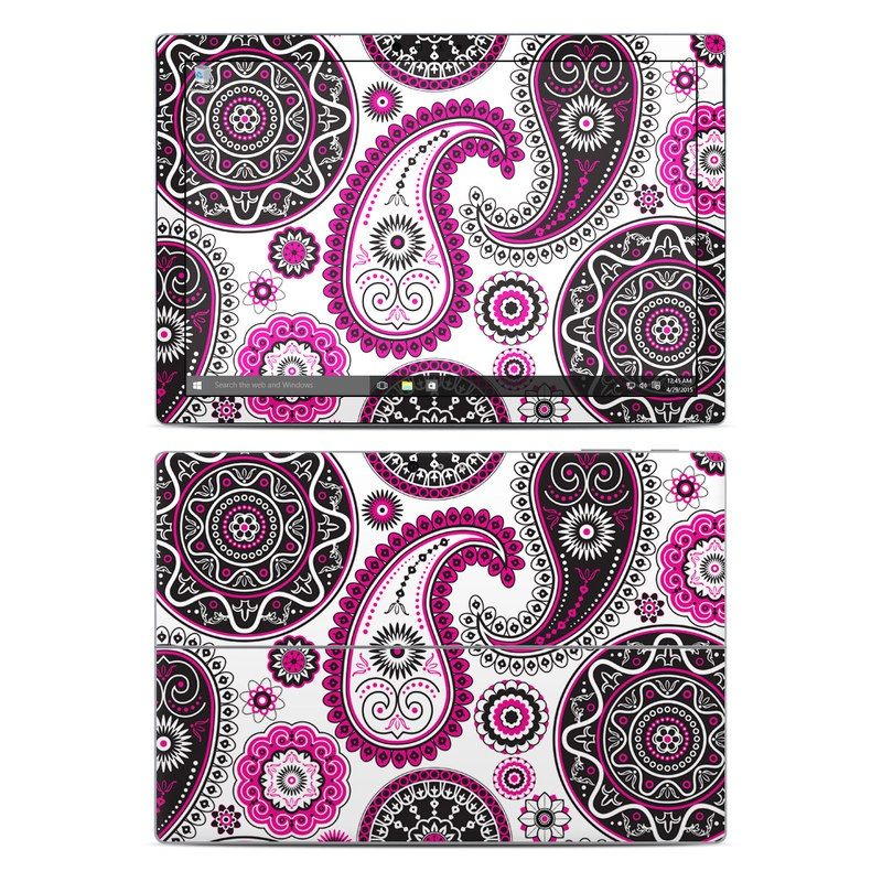 Microsoft Surface Pro 5, Pro 4 Skin design of Pattern, Paisley, Motif, Visual arts, Pink, Design, Circle, Textile with white, pink, black colors