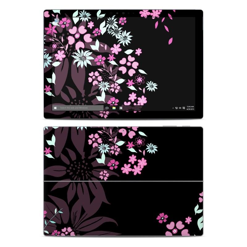 Microsoft Surface Pro 5, Pro 4 Skin design of Pink, Pattern, Flower, Plant, Botany, Petal, Floral design, Design, Pedicel, Graphic design with black, gray, purple, green, red, pink colors