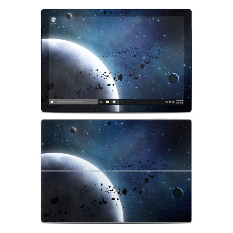 Microsoft Surface Pro 5, Pro 4 Skin design of Outer space, Atmosphere, Astronomical object, Universe, Space, Sky, Planet, Astronomy, Celestial event, Night with black, blue, gray colors