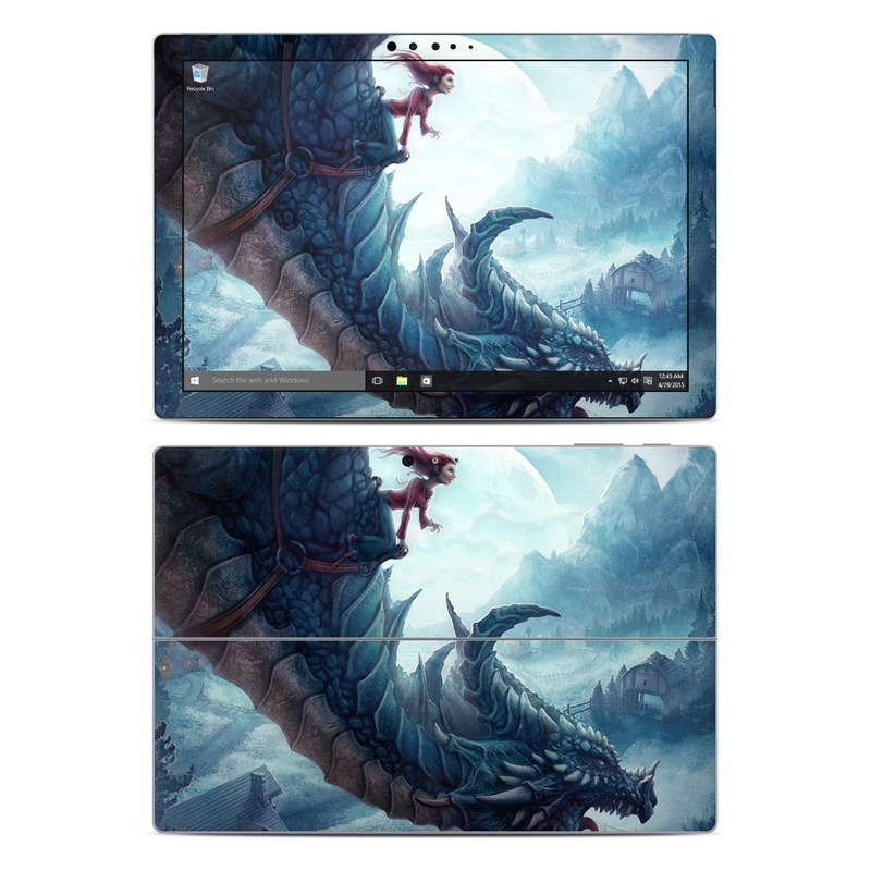 Microsoft Surface Pro 5, Pro 4 Skin design of Dragon, Cg artwork, Illustration, Action-adventure game, Fictional character, Mythical creature, Mythology, Fiction, Cryptid, Extinction with blue, white, brown, green colors