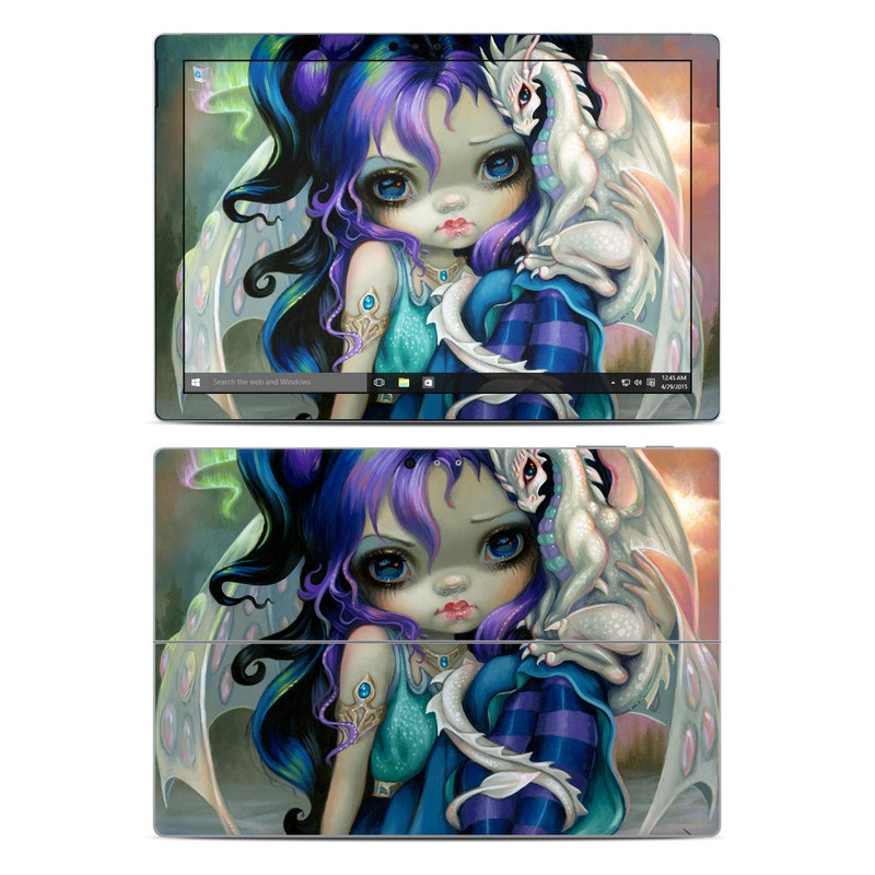 Microsoft Surface Pro 5, Pro 4 Skin design of Illustration, Fictional character, Cg artwork, Art, Mythology, Anime, Mythical creature with green, blue, purple, yellow, red, white colors