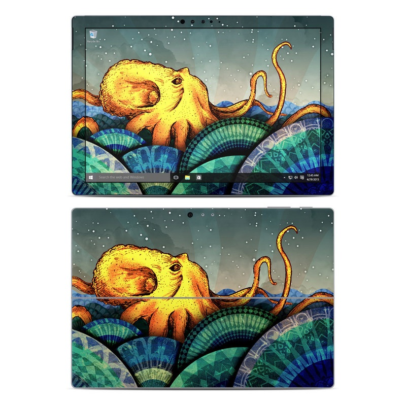 Microsoft Surface Pro 5, Pro 4 Skin design of Illustration, Fractal art, Art, Cg artwork, Sky, Organism, Psychedelic art, Graphic design, Graphics, Octopus with black, gray, blue, green, red colors