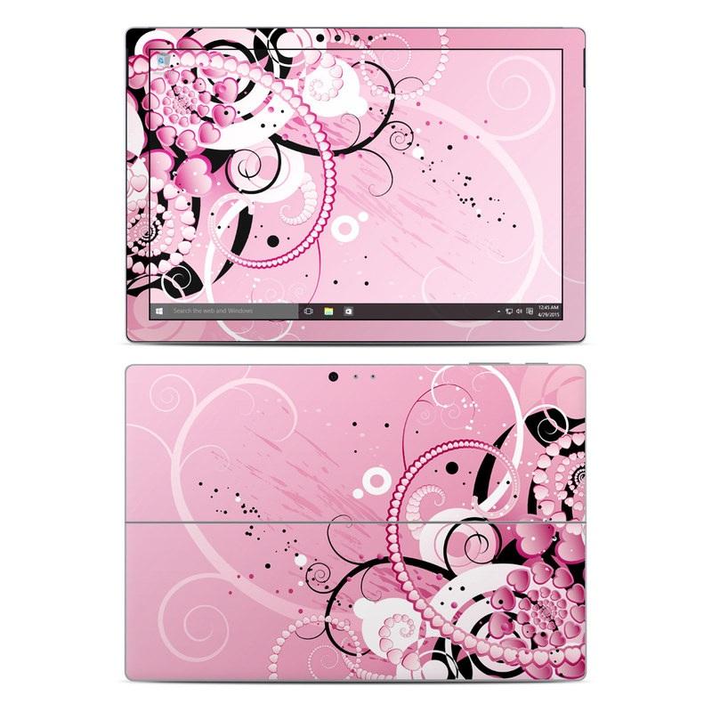 Microsoft Surface Pro 5, Pro 4 Skin design of Pink, Floral design, Graphic design, Text, Design, Flower Arranging, Pattern, Illustration, Flower, Floristry with pink, gray, black, white, purple, red colors
