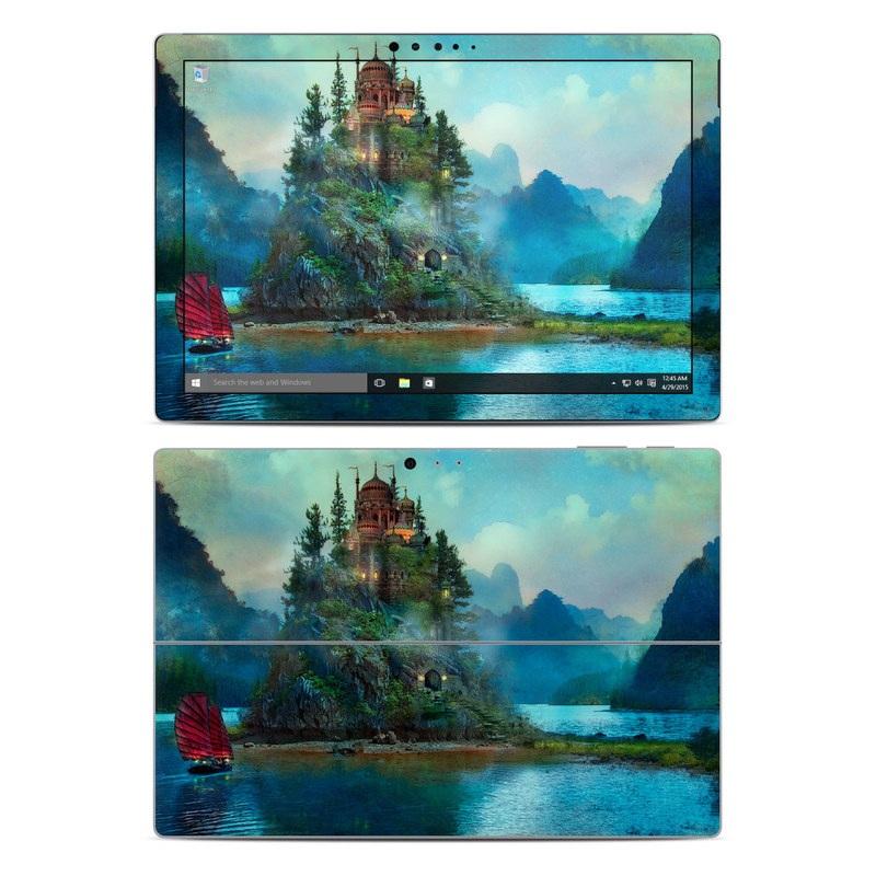 Microsoft Surface Pro 5, Pro 4 Skin design of Nature, Natural landscape, Sky, Painting, Landscape, Illustration, Watercolor paint, Art, Calm, Water castle with black, gray, blue, green colors