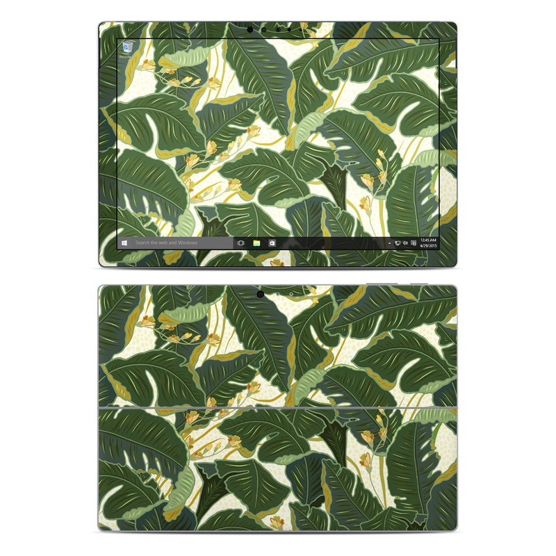Microsoft Surface Pro 5, Pro 4 Skin design of Leaf, Plant, Flower, Pattern, Botany, Tree, Design, Flowering plant, Arrowroot family, Terrestrial plant with green, yellow colors