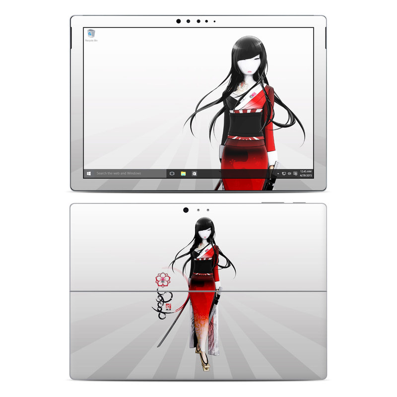 Microsoft Surface Pro 5, Pro 4 Skin design of Fashion illustration, Fashion, Black hair, Illustration, Fashion design, Hime cut, Costume, Style, Costume design with gray, white, black, red colors