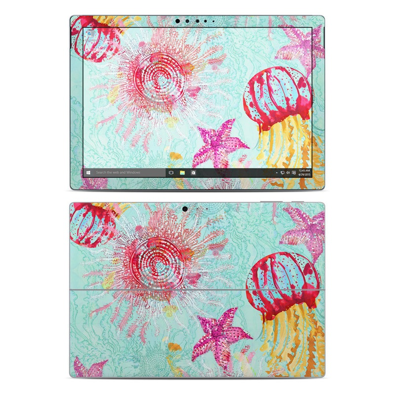 Microsoft Surface Pro 5, Pro 4 Skin design of Pink, Aqua, Pattern, Teal, Floral design, Visual arts, Textile, Design, Magenta, Art with blue, red, pink, yellow colors