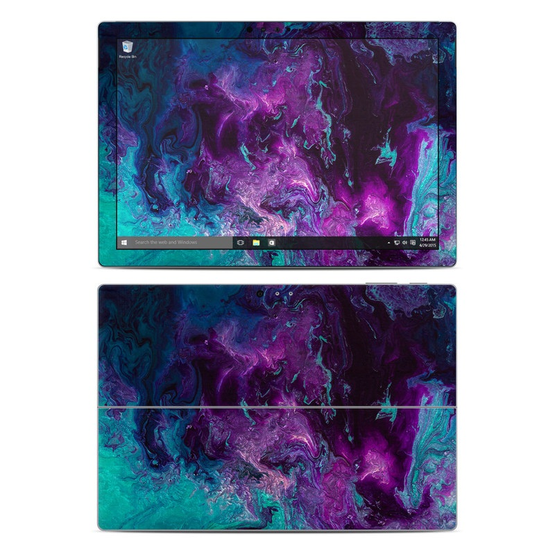 Microsoft Surface Pro 5, Pro 4 Skin design of Blue, Purple, Violet, Water, Turquoise, Aqua, Pink, Magenta, Teal, Electric blue with blue, purple, black colors