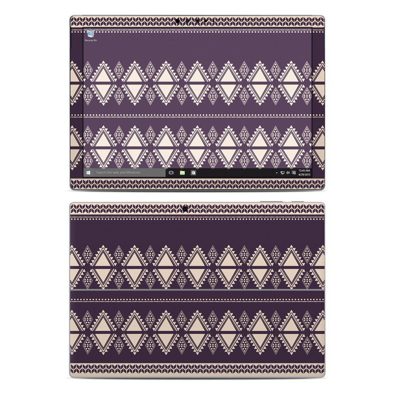 Microsoft Surface Pro 5, Pro 4 Skin design of Pattern, Purple, Text, Line, Violet, Design, Textile, Font, Lace with purple, white colors