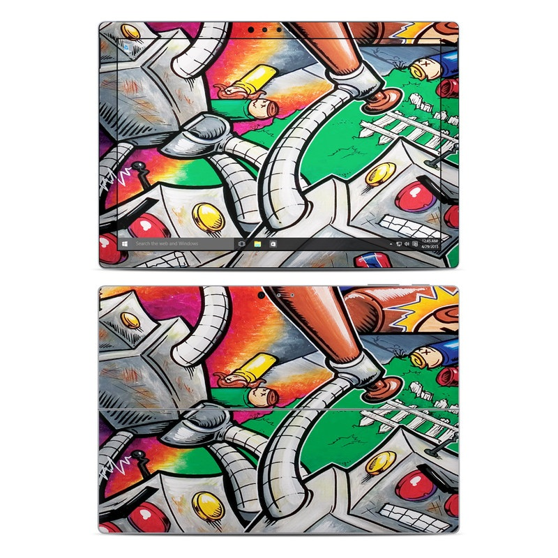 Microsoft Surface Pro 5, Pro 4 Skin design of Cartoon, Games, Art, Graffiti, Illustration, Technology, Visual arts, Mural, Fiction, Street art with gray, black, red, green, blue colors